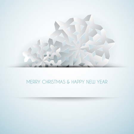 salumi affettati: Vettoriale di carta fiocchi di neve di Natale su uno sfondo azzurro