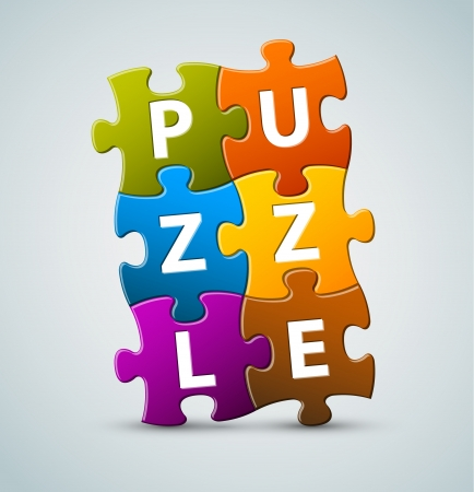 Vector colorful  puzzle lettering - made from puzzle pieces Vector