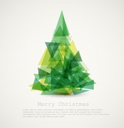 navidad elegante: Vector retro tarjeta verde abstracto con el �rbol de navidad Vectores