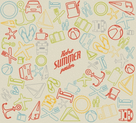 Vector summer pattern  background with the sun and summer icons Vector