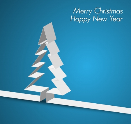 Merry Christmas card with a white tree made from paper stripe Vector
