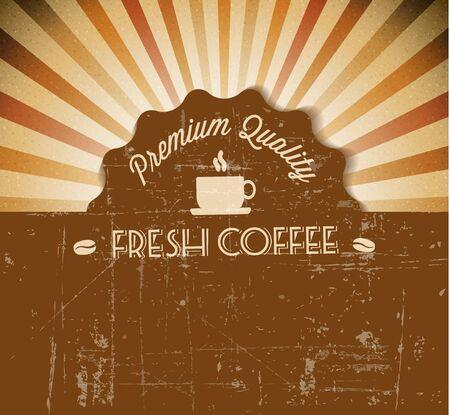 コーヒーのラベルとテキストのための場所とベクトル グランジ レトロ ビンテージ背景