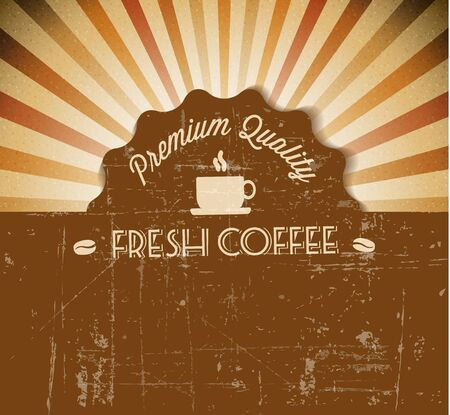 Vector grunge retro vintage background with coffee label and place for your text Vector