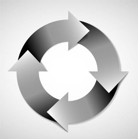 Vettoriale in bianco e nero schema del ciclo di vita / schema