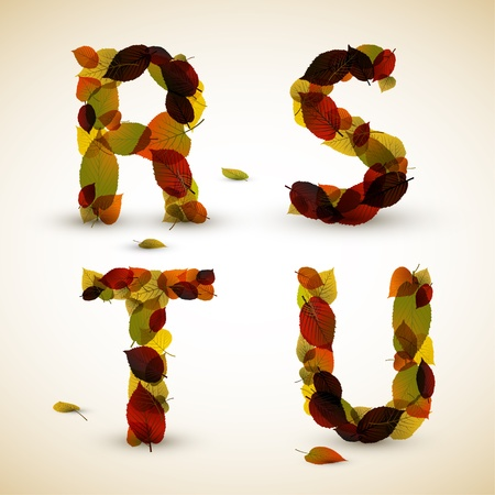 Fall Vector alphabet letters  font made from colorful leafs Vector
