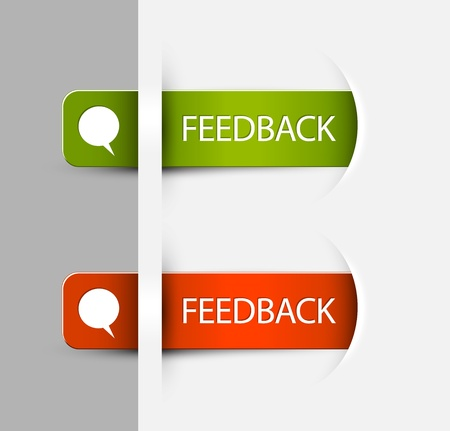 feedback icon: Red and green Feedback Labels  Stickers on the edge of the (web) page
