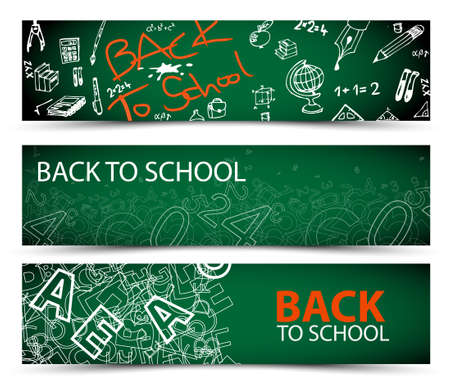 green back: Back to School vector banners with drawings, doodles and letters Illustration