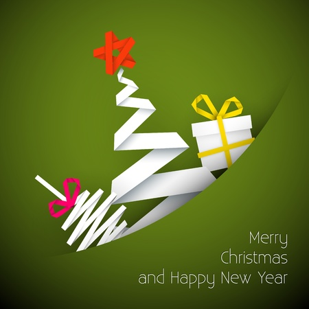 Simple vector green christmas card with gift, tree and bauble made from paper stripe Vector