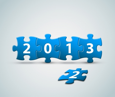 New Year 2013 card made from puzzle pieces vector illustration Vector