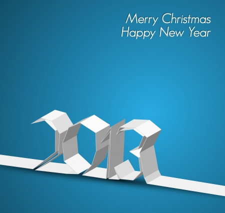 New Year 2013 card made from paper stripe, blue vector illustration Stock Vector - 14776669