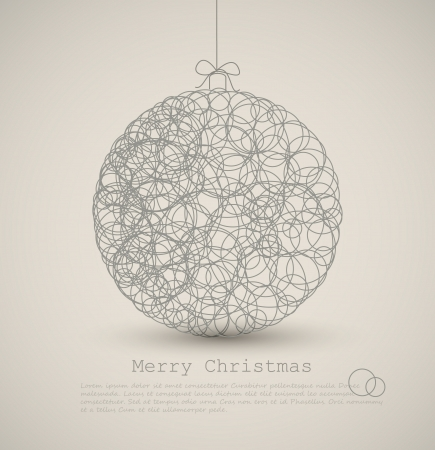 christmas baubles of modern design: Vector modern card with abstract christmas decoration on a light background