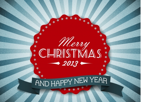 Simple vintage retro vector Christmas card (blue and red) Stock Vector - 14847081