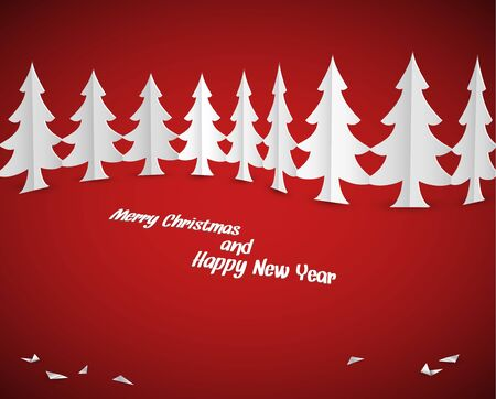 Simple vector christmas paper trees - original new year card Vector