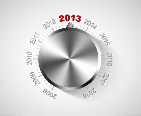 turns of the year: Vector 2012 Tarjeta de A�o Nuevo con la perilla de cromo