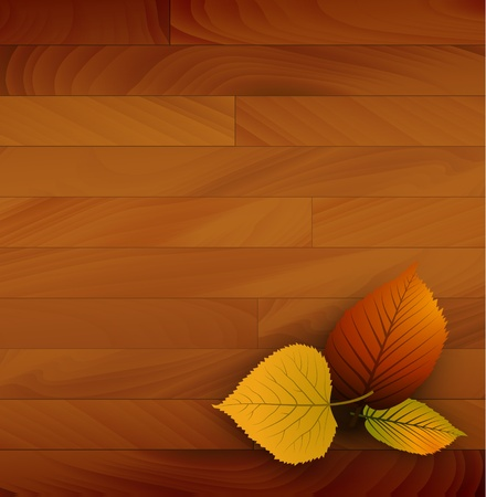 Autumn vector wooden background with colorful leafs Vector