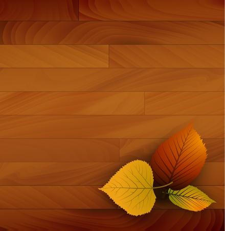 Fondo del otoño vector de madera con hojas de colores Ilustración de vector