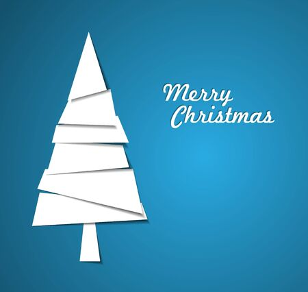 Simple vector christmas tree made from pieces of white paper - original new year card photo