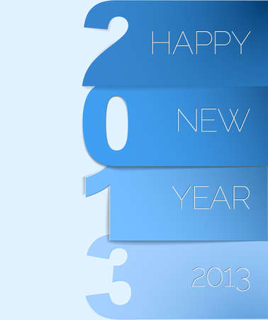 Blue and white Happy New Year 2013 vector card Stock Vector - 14973505