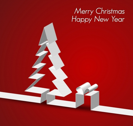 Merry Christmas card with a white tree made from paper stripe Vector Illustration