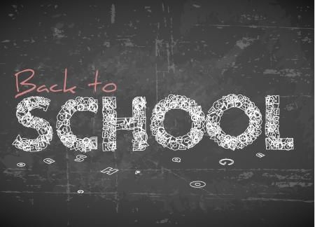 overlay: Back to school white illustration on chalkboard