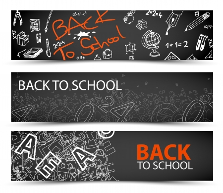 Back to School banners with drawings, doodles and letters Illustration