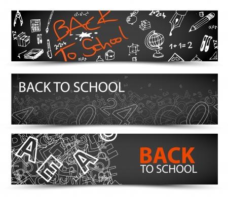 niños con pancarta: Regreso a la Escuela banderas con dibujos, garabatos y letras