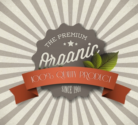 food background: Old round retro vintage grunge label for bio  organic product