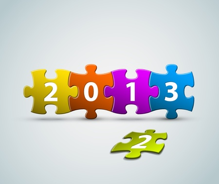 New Year 2013 card made from colorful puzzle pieces illustration Stock Vector - 14973510