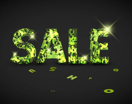 green sale label made from various letters Vector