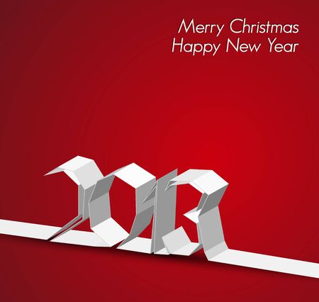 New Year 2013 card made from paper stripe, red illustration Vector