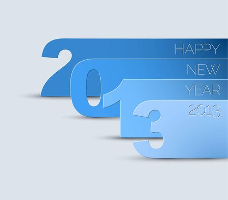 Blue and white Happy New Year 2013  card Vector