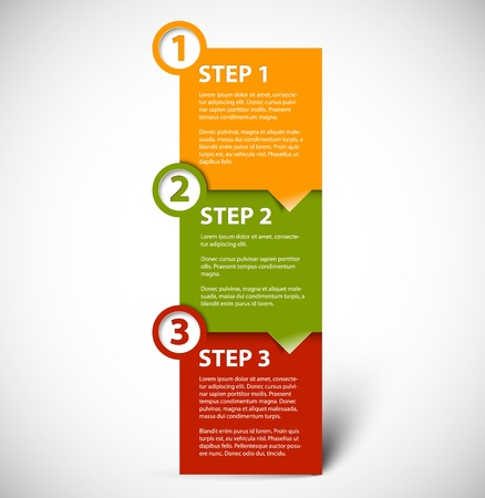 instruction: One two three -  paper progress steps for tutorial Illustration