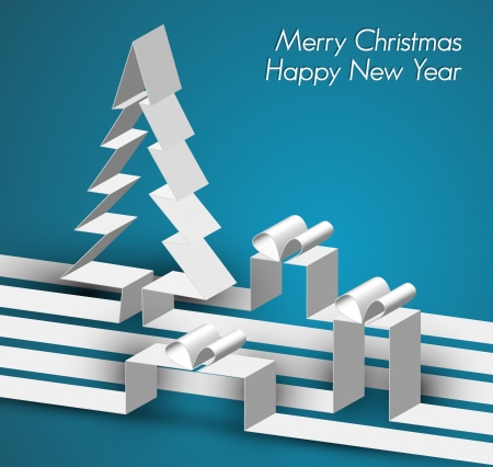 Merry Christmas card with a white tree made from paper stripes Illustration