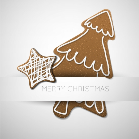 christmas cookie: Christmas card - gingerbread tree with white icing  and place for your text Illustration