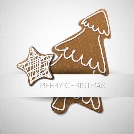 galleta de jengibre: Tarjeta de Navidad - �rbol de pan de jengibre con glaseado blanco y lugar para su texto