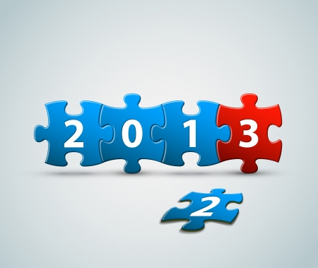 New Year 2013 card made from blue and red puzzle pieces  illustration Stock Vector - 15089544