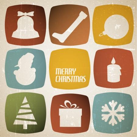 Vintage tarjeta de Navidad con diversas formas de temporada