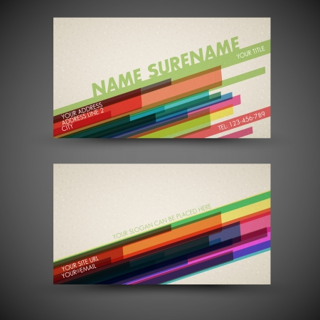 old-style retro vintage colorful business card - both front and back side Vector