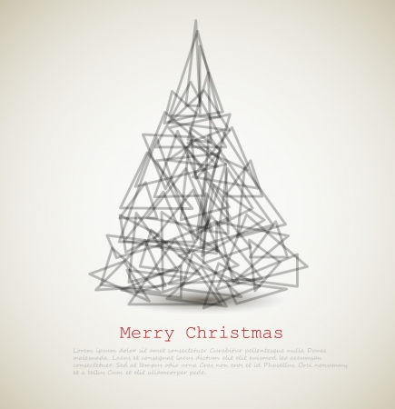 christmas holiday background: modern card with abstract christmas tree on a light background