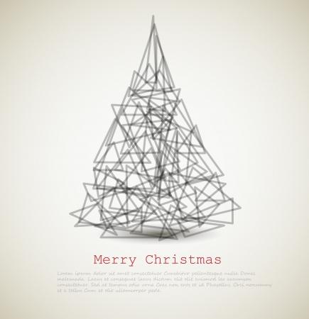 navidad elegante: tarjeta moderna con el �rbol de navidad abstracto sobre un fondo claro Vectores