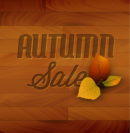 Autumn sale  wooden background with colorful leafs Vector