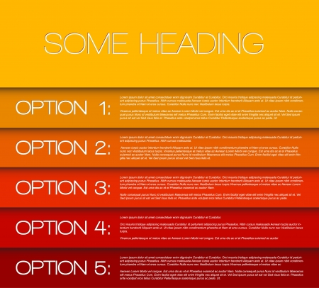 Paper options background / product choice or versions from yellow to red Vector
