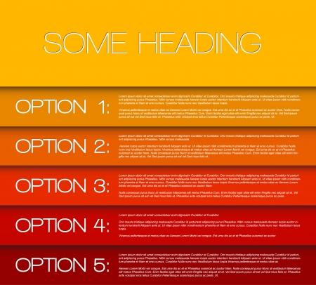 Papieropties achtergrond / productkeuze of versies van geel naar rood