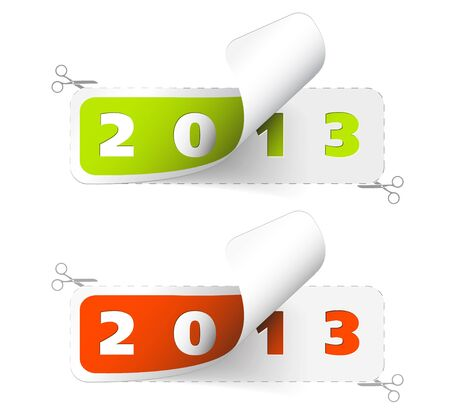 2012  2013 new year stickers - green and red Vector