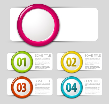 One two three four progress icons for four steps Vector