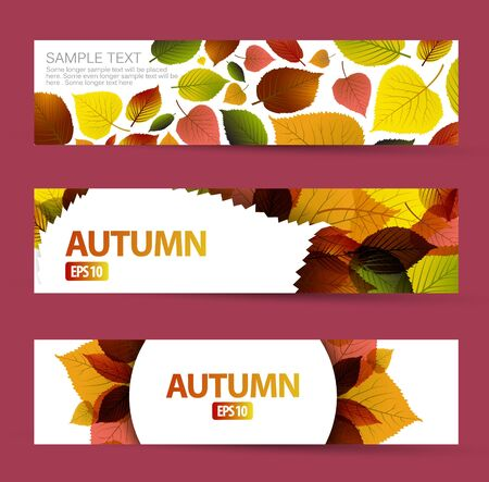 saturate: Fresh natural fall horizontal banners with leafs and sample text
