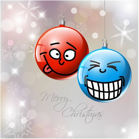 Funny blue and red Christmas baubles with faces Vector