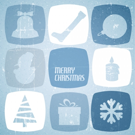 Vintage christmas card with various seasonal shapes Stock Vector - 15173524