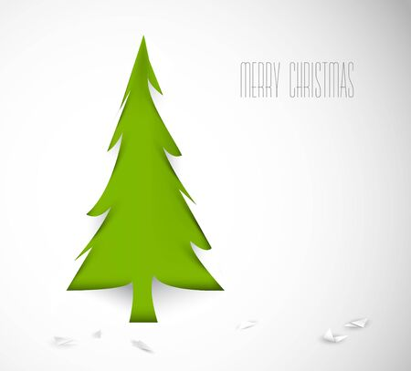 Simple christmas tree cut out from white paper - original new year card Vector