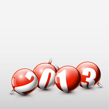 glimpse: red Christmas realistic baubles with the numbers of new year 2013